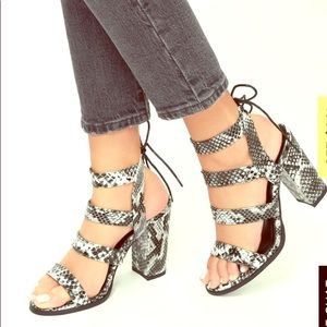 Lulus's Sydney Black White Snake High Heel Sandals